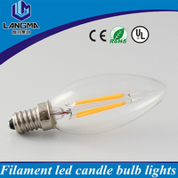 Cheap price clear glass 2700K warm white 4W E12 E14 filament led candle light