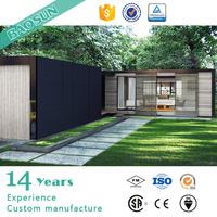 prefab steel frame modular house with wooden exterior decoration in UK