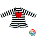 boutique 2 pieces outfit white black stripe heart valentine newborn baby clothes