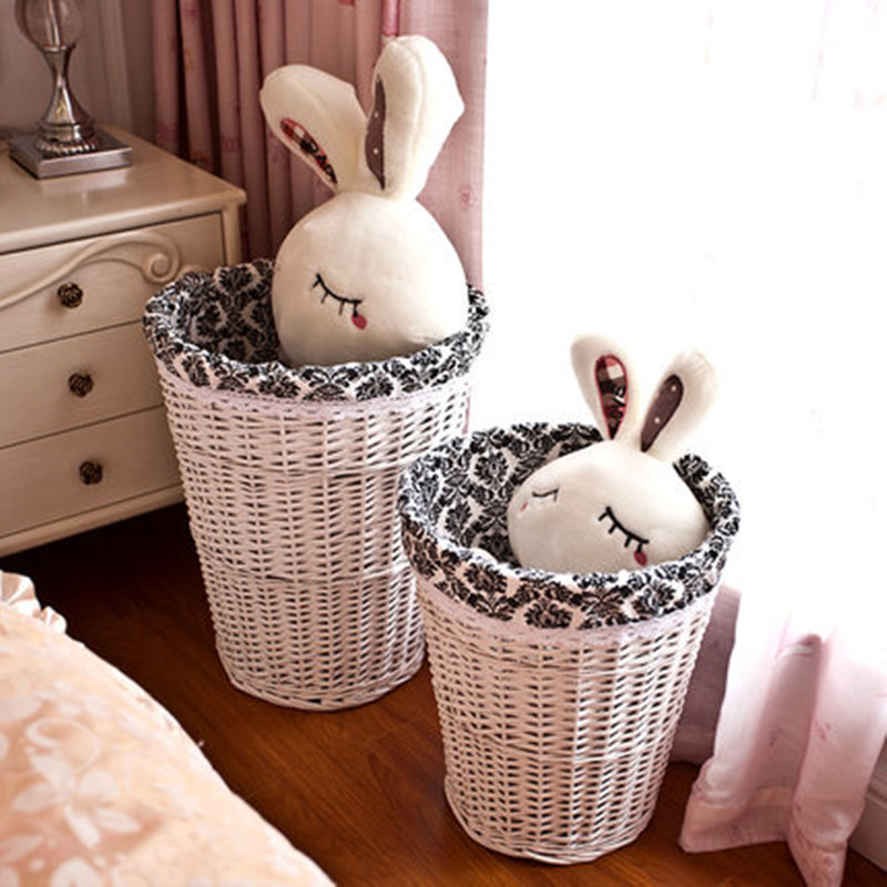 2016 hot sale decoration handmade weaving white washable wicker/willow storage basket