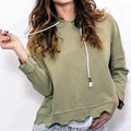 Women wholesale sportswear two tone hoodies