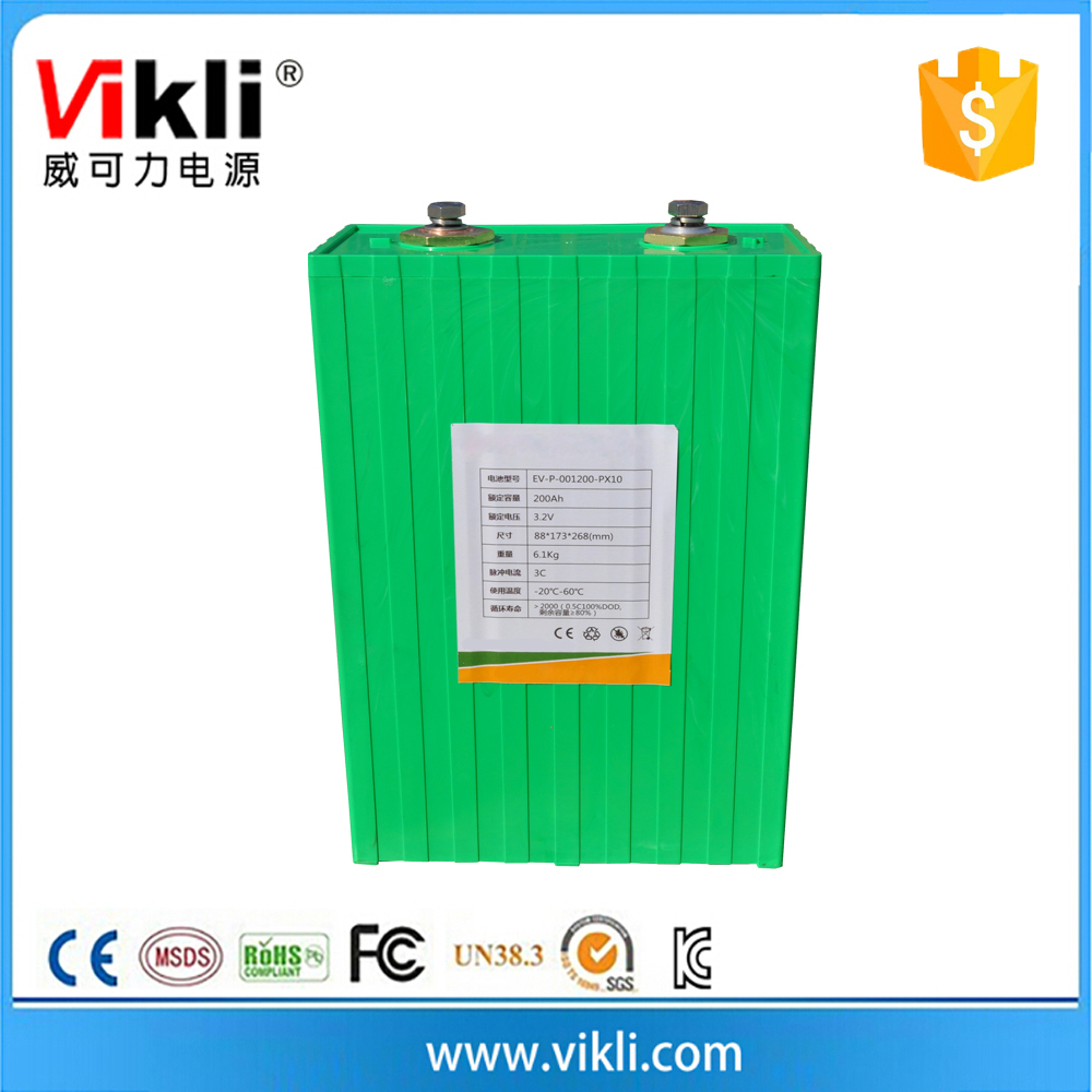 High capacity 3.2V 200Ah lithium ion battery pack for solar power system
