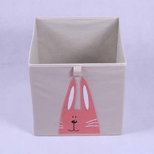 Cartoon embroidery collapsible square non woven storage box