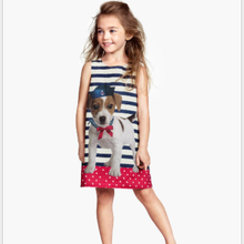 PHB20894 navy striped cute dog printed girls branded clothes dresses
