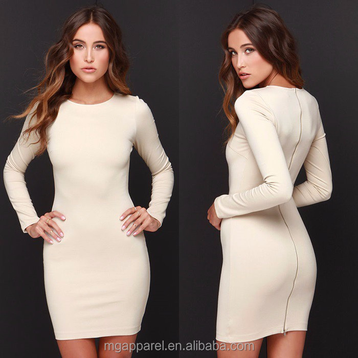High Fashion Chic Bodycon Fit Plain Beige Long Sleeves Midi Dress