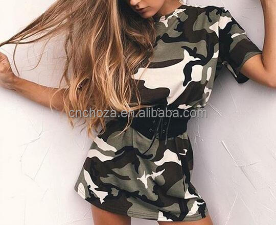 Z80216E 2017 summer cheap wholesale camouflage printing women dress