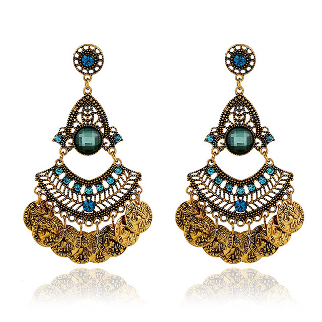2016 new fashion ethnic Bohemian gypsy gold big crystal drop earrings,vintage long coin channel earrings for women fine jewelry