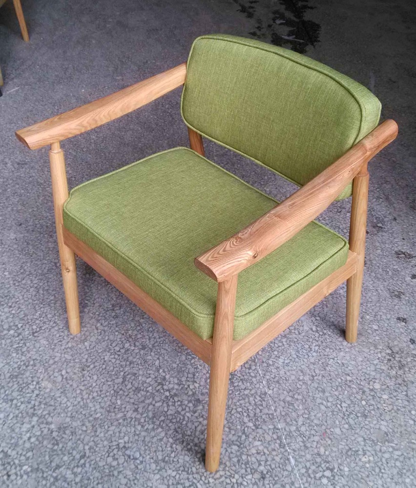 Simple design North American ash wood framed soft green cloth seat and back dining chair