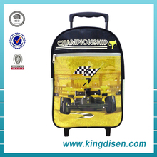 Fashion PVC printing racing car kids trolley school bags backpack for grade 1