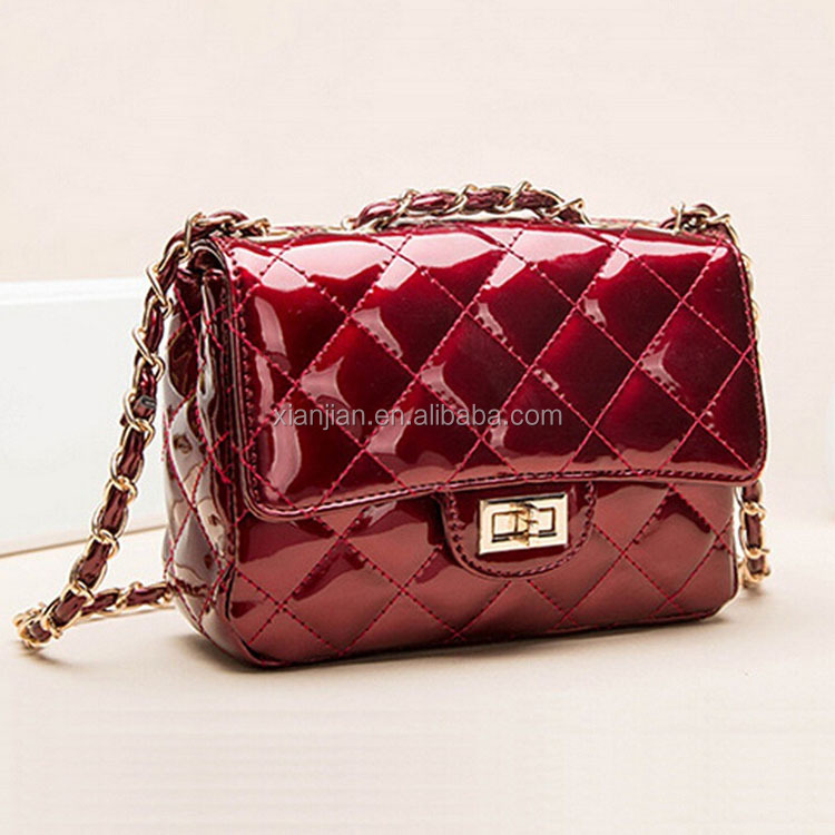 Bulk Stocked Patent leather quilted cross chain mini small clutch bag shoulder bag for ladies (XJBG1)
