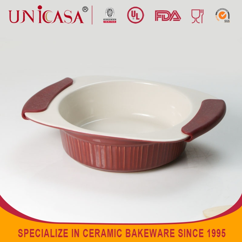 UNICASA 2015 Top Sale Food Grade Approved Red Silicone Cake mould Pan Ceramic Cookware/bakeware set