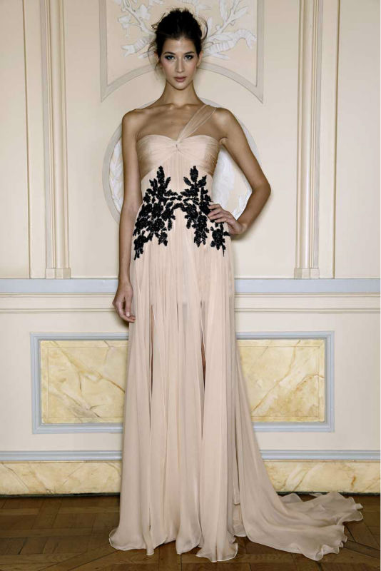 Best Selling One-shoulder Lace Applique Ruffle Zuhair Murad Evening Dresses Prices
