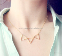 Custome Printed Necklace Card Metal Triangle Charm Necklace Simple Design Gold Short Chain Collar Necklace