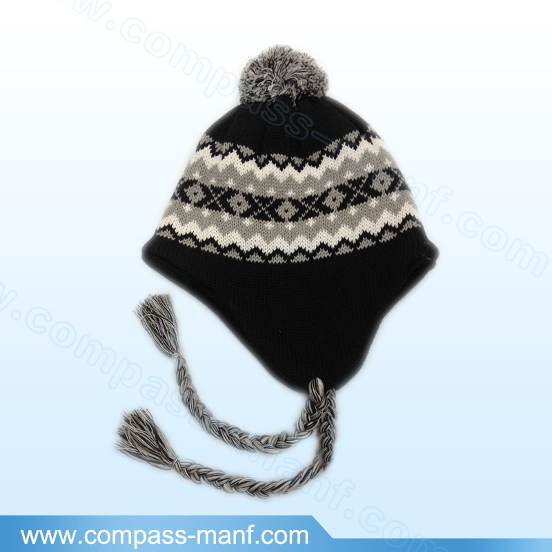 Acrylic ear flap winter knit hat within fleece lining