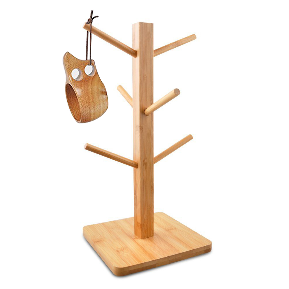 Durable Bamboo Mug Tree Storage Organizer Cup Rack Stand