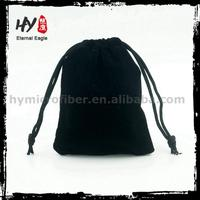 Hot selling velvet jewellery pouch with logo printed, velvet drawstring pouch/bag, black velvet gift bags pouch with low price