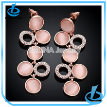 Hot sale long imitation dangle earring pink natural opal earrings for lady girl wholesale