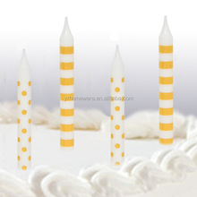 Striped and polka dot birthday party candle cake decorations shower wedding yellow candle