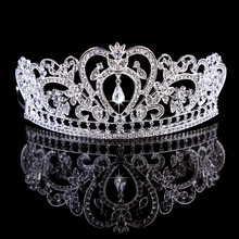 High quality bride wedding hair accessories crystal full round crown tiara