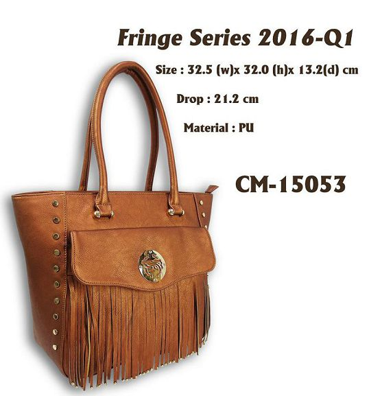 PU Leather Handbag with Fashion Tassel