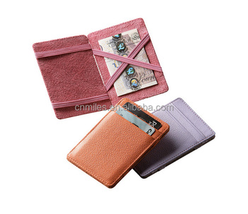 Factory price!Unique leather magic wallet with elastic band