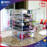 China wholesale custom lucite plexiglass acrylic cosmetic acrylic make up organizer with drawers