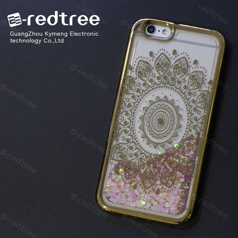 E-redtree Shockproof Custom Bumper Liquid Glitter Mobile Phone Cases For Samsung Galaxy S4 Active for iphone 7 case (stars)