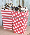 Red Popcorn Boxes in Dots and Stripes, Popcorn Favor Boxes (set of 6 - 3 each style) Ships Flat