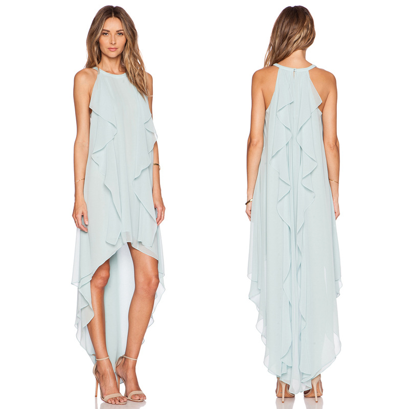 7ade7adbb79 Get Quotations · 2015 Summer Style Women Vintage Sleeveless Chiffon Dresses  Irregular Length Drape Flouncing Light Blue Long Dress