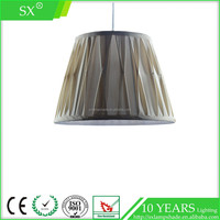 Popular cone pinched pleat silk fabric shade bedside mini metal table lamp