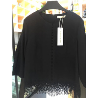 Black tassels women T-shirt cheap Autumn long sleeves china Casual