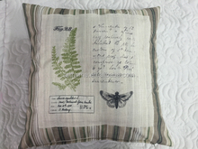 fern stripe printed embroidery cushion