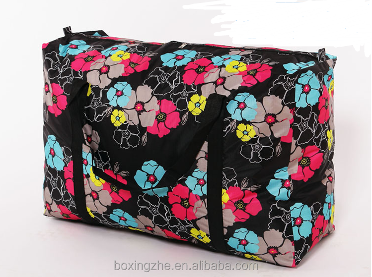 600D thicken waterproof Oxford with flowers and cartoon painting duffel bag