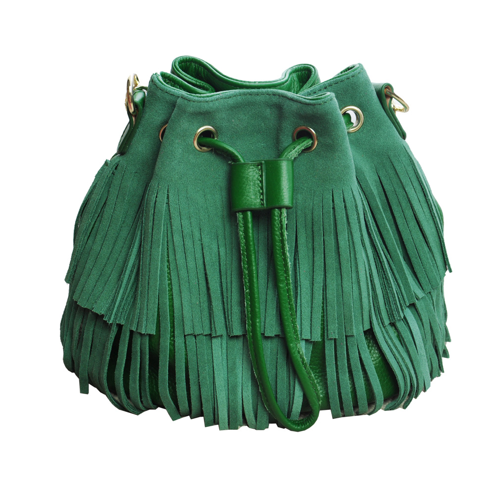 Women genuine leather handbag fringe tassel drawstring bucket shoulder bags suede handbags and purses for lady