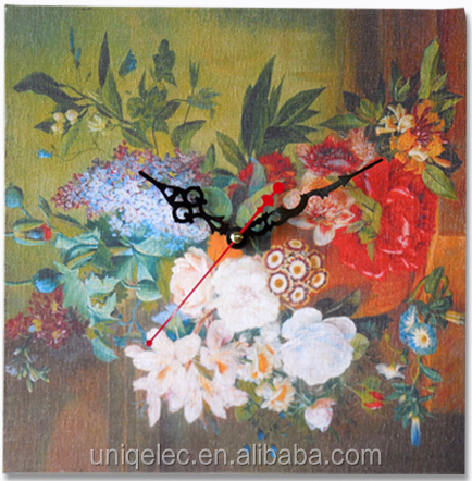 Chinese style oil painting art wall clock