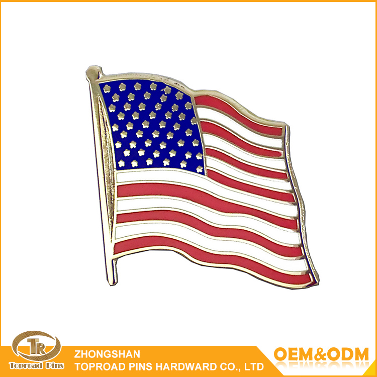 Promotional custom metal lapel badge cheap enamel flag lapel pins