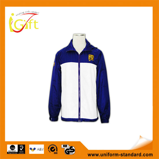 UK New arrival Fashionable shiny navy long embroidered windbreakers