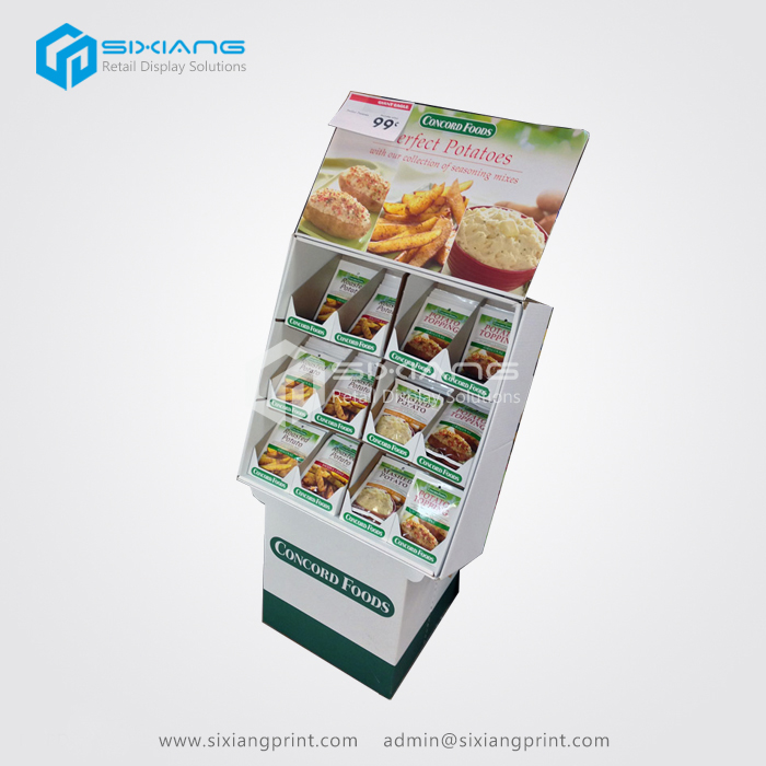 Customized Craft Showing Display Standing , Cardboard Food Display Shelf