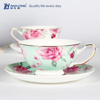 Green Romantic Gold Rim Cup and Saucer Pose Painting Ceramic Tea Cup and Saucer set