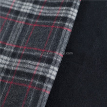 Double face check wool fabric