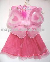 Pink hot pink skirt suit - lovely butterfly wings wear - teen and kids style dance wear