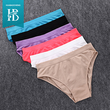 Fashion Ropa Interior Mujer Underwear Women Sexy Thin Solid Heart Pattern Seamless Briefs Lingerie Lovely Girl Panty