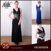 EL-8396A New 2015 V-neck Beaded Royal Jersey Cocktail Dress