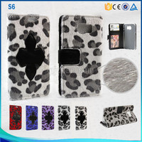 Leopard print fur leather case for samsung galaxy s6 flip leather mobile phone case