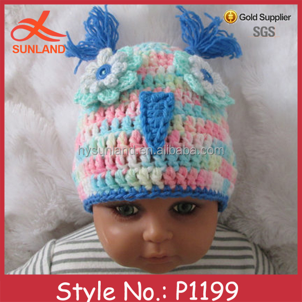 P1199 top selling fashion lovely baby funky crochet knitted owl hat pattern