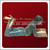 Modern Classic Excellent Bronze Girl Reading Statue