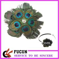 Baby Girl Kids Infant Peacock Feather Headband Flower Hairband Hairdress