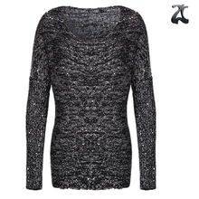 Cheap price sequin yarn top 10 ladies' women 100% acrylic knitted sweater loose oversized pullover