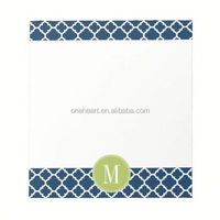 Hot Sale Lime & Navy Geometric Pattern Custom Monogram Memo Note Pad heart shape sticky note
