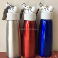 100pcs Free Shipping High Quality Nitrous Oxide 500ml / 0.5L Whipped Aluminum Cream Dispenser With Plastic Lid For 8g N2o